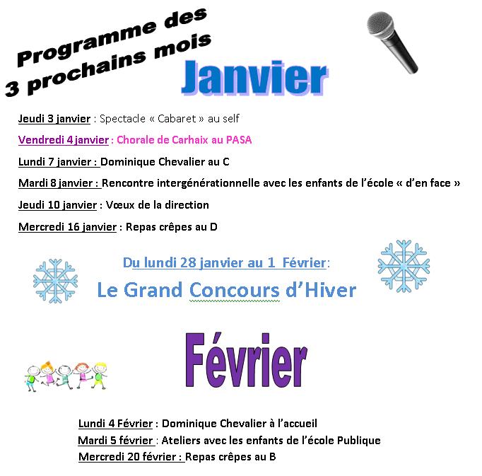 Programme d'animation de janvier février 2019