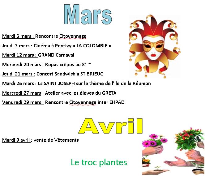 Programme d'animations de mars avril 2019